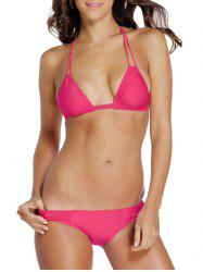 Attractive Spaghetti Straps Solid Color Halter Bikini Set For Women