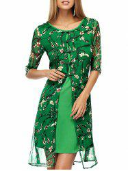 Plate Buttons Printed Flowing Silk Dress - GREEN