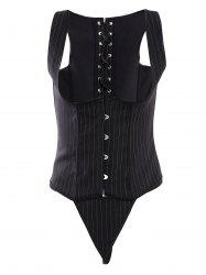 Button Design Striped Corset Top - BLACK