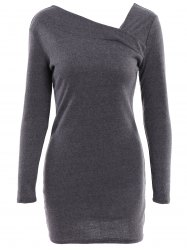 Stylish Solid Color Long Sleeve Packet Buttock Knitted Women's Dress -