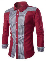 Elegant Plaid Spliced Color Block Turn-down Collar Long Sleeves Shirt For Men - WINE RED