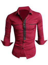 Classic Color Block Button Fly Double Pockets Shirt Collar Long Sleeves Shirt For Men - DARK RED M