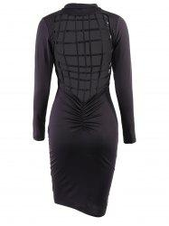 Sexy Solid Color Back Hollow Out Long Sleeve Bodycon Dress For Women -