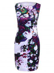Vintage Sheathy Flowers Print Round Neck Sleeveless Women's Dress