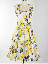 Sweetheart Neck Lemon Pattern Bowknot Zippered Dress