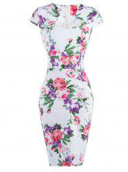 Floral Cheongsam Midi Bodycon Dress