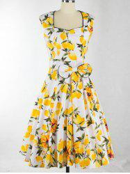 Lemon Print Bowknot Design Zippered Dress -