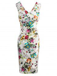 Floral Print Waisted Zipper V Neck Midi Bodycon Dress