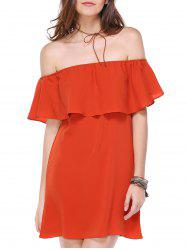 Alluring Off The Shoulder Flounce Women's Chiffon Dress - JACINTH