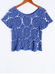 Bohemian Scoop Neck Short Sleeves Crochet Top For Women