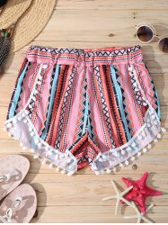 Stylish Geometric Print Elastic Waist Pompon Trim Women's Shorts -