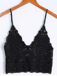 Fashionable V-Neck Spaghetti Strap Crochet Crop Top For Women -