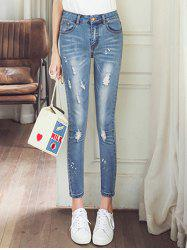 Skinny Ripped Ninth Jeans - LIGHT BLUE