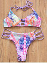 Chic Halter Double-Wear Geometric Print Hollow Out Women's Bikini Set