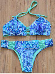Stylish Halter Double-Wear Printed Criss Cross Women's Bikini Set -