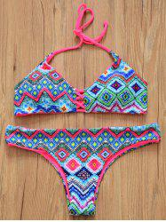 Chic Halter Double-Wear Geometric Print Zig Zag Women's Bikini Set