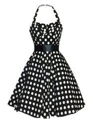 Retro Polka Dot Halter Sweetheart Neck Dress - BLACK XL