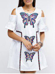 Open Shoulder Bell Sleeve Butterfly Embroidered Dress -