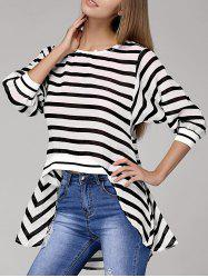 Chic Batwing Sleeve Striped Asymmetrical Women's T-Shirt