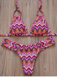 Zig Zag Halterneck Bikini Set - ROSE RED S