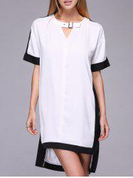 Chic Women's Loose Hit Color Short Sleeve Dress -