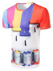 3D Colours Strip Print Round Collar T-Shirt For Men