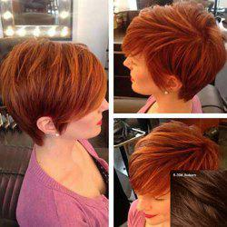 Refreshing Short Shaggy Side Bang Human Hair Wig For Women