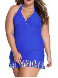 Stylish Halter Fringe Plus Size One-Piece Swimwear For Women -