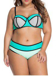 Chic Plus Size Spaghetti Strap Color Block Bikini Set For Women