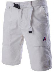 Corduroy Zipper Fly Plastic Buckle Design Embroidery Straight Leg Shorts For Men - WHITE