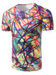 Fashion Round Collar Colorful Graffiti T-Shirt For Men