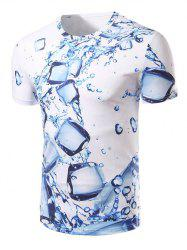 Fashion Round Collar 3D Ice Cube Printing T-Shirt For Men - WHITE