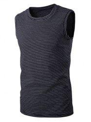 Round Neck Striped Sleeveless T-Shirt For Men