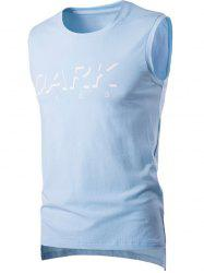 Round Neck Letter Printed Sleeveless T-Shirt For Men - LIGHT BLUE