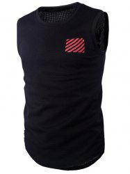 Round Neck Letter and Stripe Printed Mesh Sleeveless T-Shirt For Men - RED