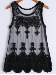 Women's Trendy Embroidery Sleeveless Dress - BLACK ONE SIZE(FIT SIZE XS TO M)