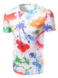 Fashion Round Collar Colorful Painting T-Shirt For Men -