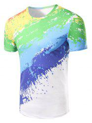 Fashion Round Collar Painting T-Shirt For Men - COLORFUL 2XL