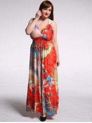 Bohemian Plunging Neck Floral Print Plus Size Hawaiian Maxi Dress