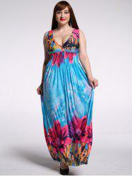 Stunning Plunging Neck Sleeveless Floral High Waist Plus Size Hawaiian Maxi Dress For Women