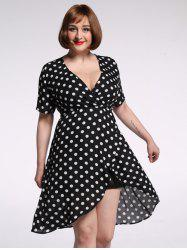 Plus Size Polka Dot Chiffon Plunge Asymmetric Dress -