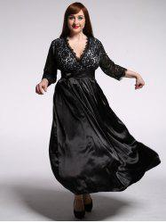 Plus Size Lace Panel Swing Formal Dress
