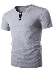 Round Neck Button Embellished Short Sleeve T-Shirt For Men