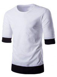 Round Neck Color Block Splicing Design T-Shirt For Men