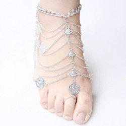 Punk Style Layered Coins Tassel Anklet