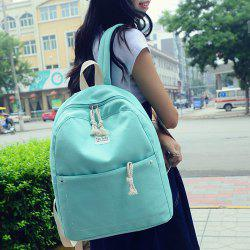 Simple Zippers and Canvas Design Backpack For Women - MINT GREEN