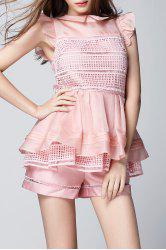 Flounce Layered Peplum Top with Shorts - PINK