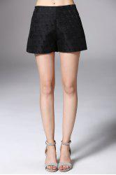 High Waist Black Jacquard Shorts -