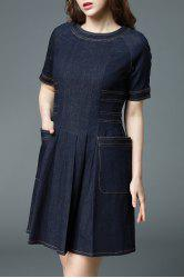Fitting Dark Blue Denim Dress -