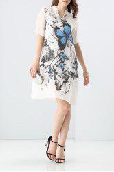 Loose Butterfly Print Dress and Cami Tank Top Suit -